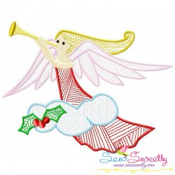 Bean Stitch Christmas Angel Embroidery Design