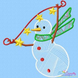 Bean Stitch Christmas Snowman Embroidery Design