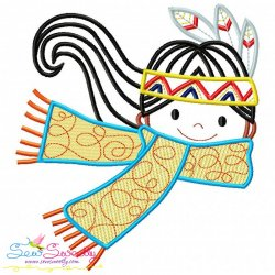 Native American Girl Scarf Embroidery Design