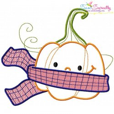 Fall Pumpkin Scarf Embroidery Design