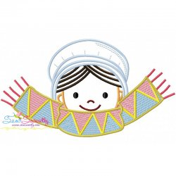 Thanksgiving Pilgrim Girl Scarf Embroidery Design
