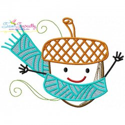 Fall Acorn Scarf Embroidery Design