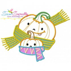 Fall Pumpkin Baby Scarf Embroidery Design