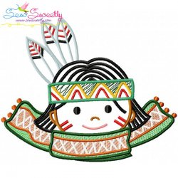 Native American Boy Scarf Embroidery Design