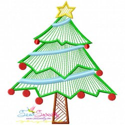 Bean Stitch Christmas Tree Embroidery Design