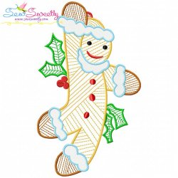 Bean Stitch Christmas Gingerbread Man Embroidery Design