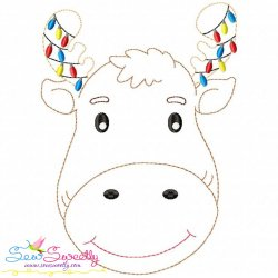 Bean Stitch Christmas Moose Embroidery Design