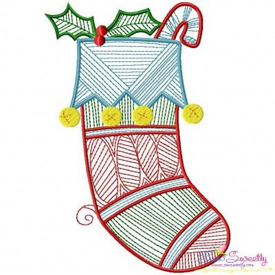 Bean Stitch Christmas Stocking Embroidery Design