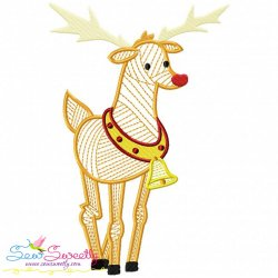 Bean Stitch Christmas Reindeer Embroidery Design