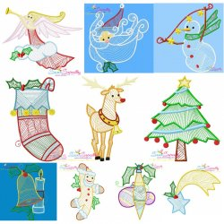Bean Stitch Christmas Embroidery Design Bundle