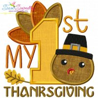 My 1st Thanksgiving Lettering Applique Design