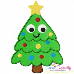 Happy Christmas Tree Embroidery Design
