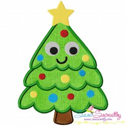 Happy Christmas Tree Applique Design