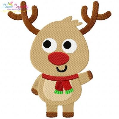 Happy Deer-1 Embroidery Design