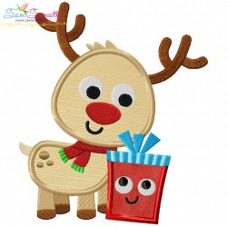 Christmas Reindeer And Gift Applique Design