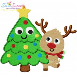 Christmas Tree And Deer Embroidery Design