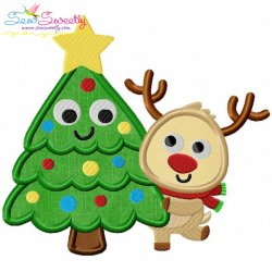 Christmas Tree And Deer Applique Design