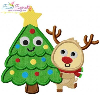 Christmas Tree And Deer Applique Design