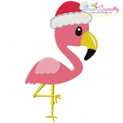 Christmas Tropical Flamingo Embroidery Design