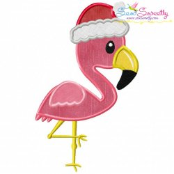 Christmas Tropical Flamingo Applique Design