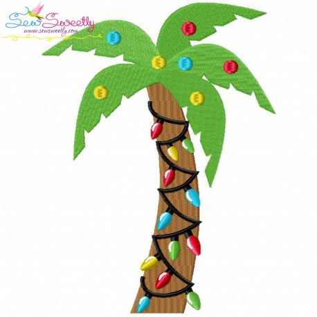 Christmas Palm Tree Embroidery Design