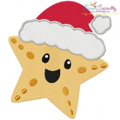 Christmas Santa Hat Starfish Embroidery Design
