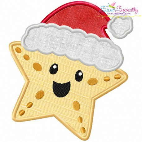 Christmas Santa Hat Starfish Applique Design
