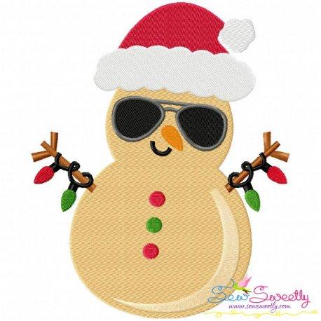 Christmas Beach Snowman Embroidery Design