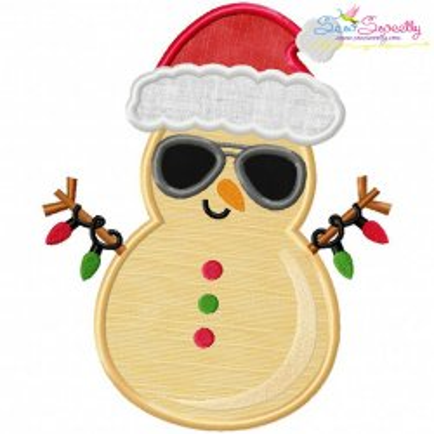 Christmas Beach Snowman Applique Design