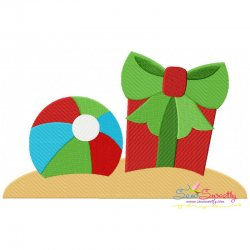Christmas Beach Ball Gift Embroidery Design