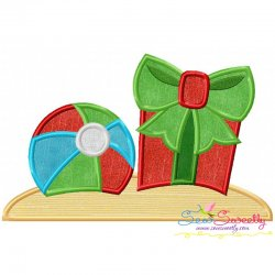 Christmas Beach Ball Gift Applique Design