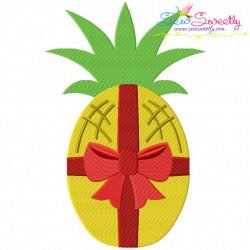 Christmas Pineapple Bow Embroidery Design