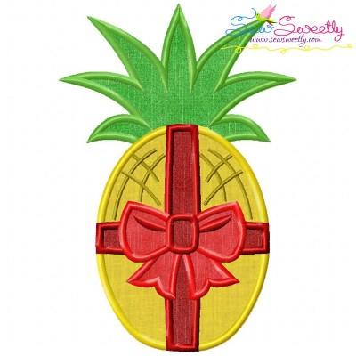 Christmas Pineapple Bow Applique Design
