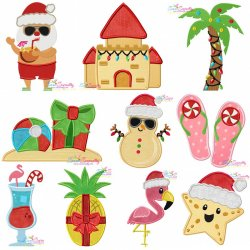Tropical Christmas Embroidery Design Bundle