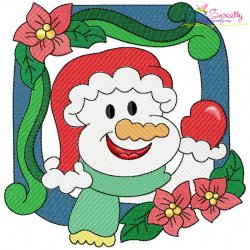Christmas Frame- Snowman-3 Embroidery Design