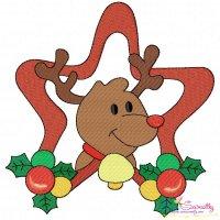 Christmas Frame- Reindeer-2 Embroidery Design