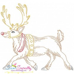 Vintage Bean Stitch Colorwork Christmas Moose Embroidery Design