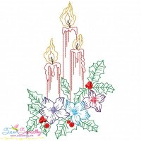 Vintage Bean Stitch Colorwork Christmas Candles Embroidery Design