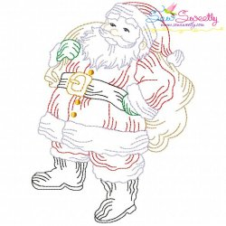 Vintage Bean Stitch Colorwork Santa Claus Embroidery Design