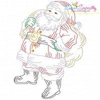 Vintage Bean Stitch Colorwork Santa Claus Embroidery Design
