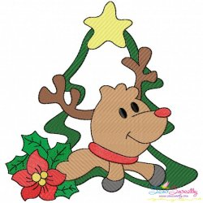 Christmas Frame- Reindeer-3 Embroidery Design
