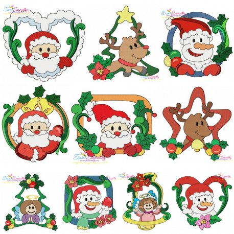 Christmas Frames Embroidery Design Bundle Pattern- Category- Embroidery Design Bundles- 1