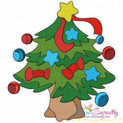 Christmas Tree Stars Embroidery Design