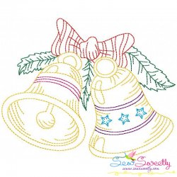 Vintage Bean Stitch Colorwork Christmas Bells Embroidery Design