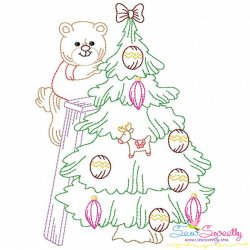 Vintage Bean Stitch Colorwork Christmas Tree Bear Embroidery Design