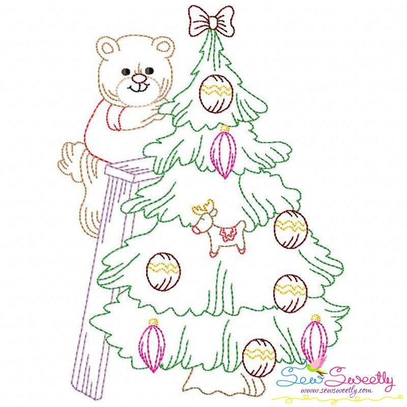 Vintage stitch colorwork christmas tree bear machine