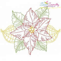 Vintage Bean Stitch Colorwork Christmas Leaves Embroidery Design