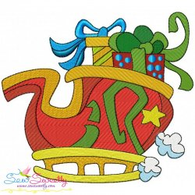 Santa Sleigh Gift Embroidery Design
