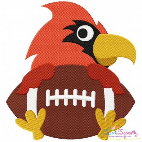 Football Cardinal Mascot Embroidery Design