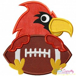 Football Cardinal Mascot Applique Design